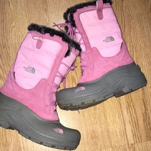 The North Face Pink & Gray Suede Winter Boots